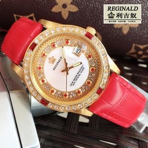 Image 1 - Женские кварцевые часы с большим циферблатом, красные светящиеся модные золотистые наручные часы с кожаным ремешком, Полностью украшенные ювелирными изделиями, 2019