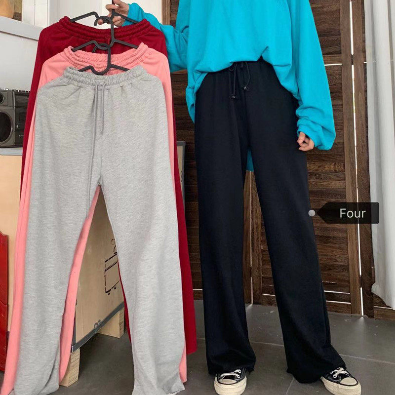 H1345dc49c5344ab185b46a31565637dfY - Autumn / Winter High Waist Elastic Broadcloth Straight Solid Pants