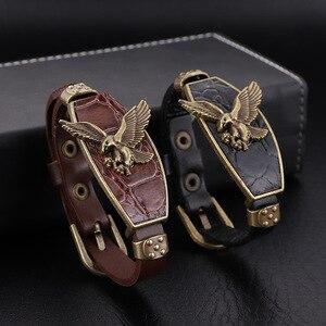 2020Punk Style Cool Eagle Ornament Men Women Alloy & Leather Bracelet Decorated Charm Bracelets Bangle For Gift Present