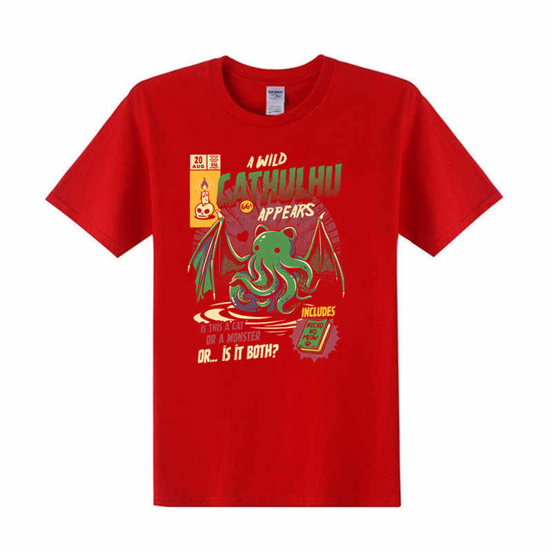 UM Selvagem Cathulhu Camiseta Gato Engraçado Homens Tshirt TShirts Cthulhu Impresso Outono Verão Tops Tees O-pescoço Roupas masculinas impresso