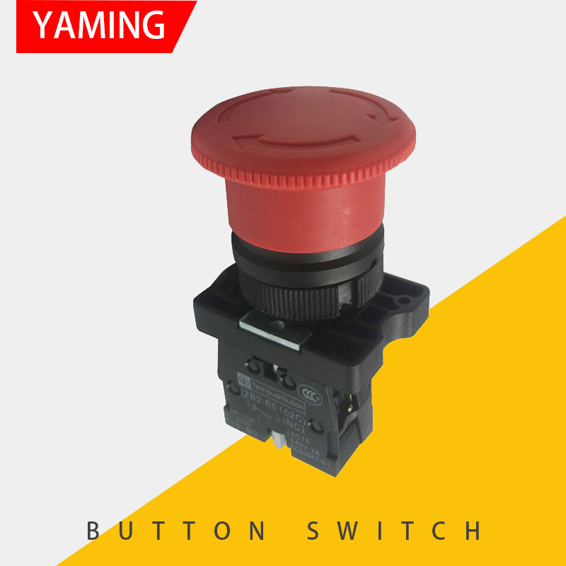22mm Momentary Push Button Switch 1 NO 1 NC NP2-BA31 Green Red Yellow Sign