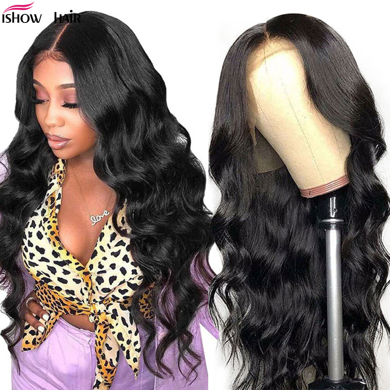 Ishow Hair Transparent Lace Wigs Brazilian Body Wave Lace Front Human Hair Wigs Pre Plucked 13x4 Lace Front Wig 180 250 Remy Wig