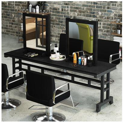 Solid Wood Retro Barber Shop Mirror Hair Salon Mirror Hair Salon Dedicated To Do Old Hot Dying Table Floor Mirror
