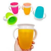 Taza de beber de aprendizaje para bebés girada de 360 grados con tapa abatible de doble manija taza mágica a prueba de fugas para niños, tazas de alimentación de agua