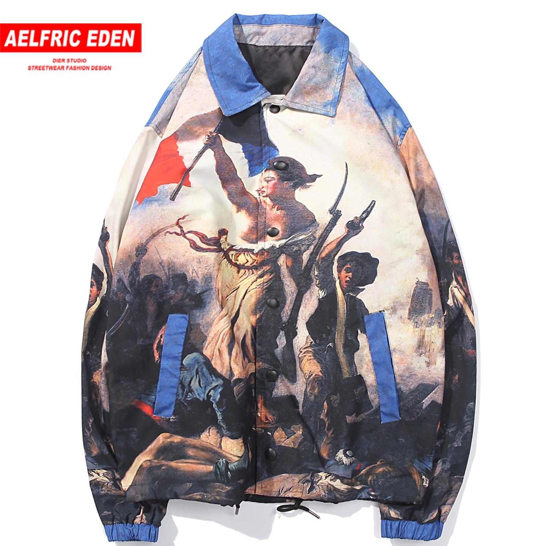 Aelfric Eden Hip Hop Painting Printed Men Jackets 2019 Autumn Harajuku Male Tops Casual Cotton Male Coats Streetwear Windbreaker