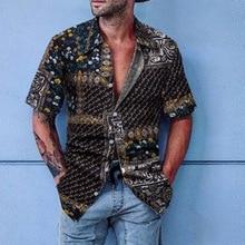 Oeak Summer Mens Shirt Mens Ethnic Print