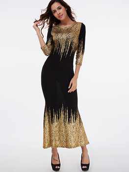 Scoop Neck Gold Stamping Sequins Maxi Dress Black 3/4 Sleeves Long Mermaid Dresses Elegant Party Vestido Prom Dresses