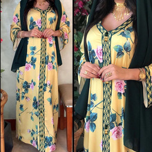2021 New Arrival Maxi Dress Ramadan Yellow Flower Abayas Islam Women's Clothing Muslim Fashion Robe Long Dubai Kaftan Arab Flora