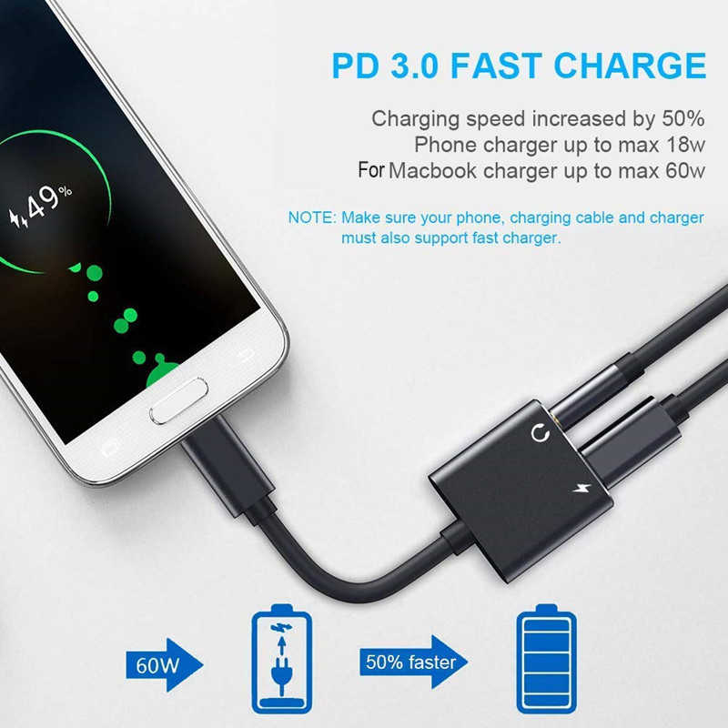 2 In 1 Adaptador Für Samsung Galaxy S10 Hinweis 10 5G Plus S9 S8 + Hinweis 9 Tupe c adapter USB Typ c Zu 3,5mm Aux Lade Splitter