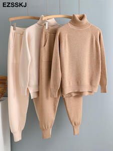 Women Knitted Outwear Tracksuit Sweater Set Pullover Jogging-Pants Carrot 2pieces-Set