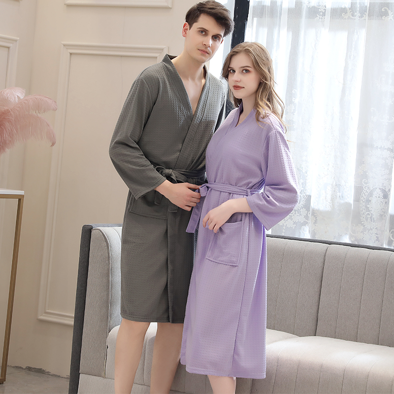 Image 2 - Lovers Summer Fashion  Waffle Bathrobe Women Suck Water Kimono Bath Robe Plus Size Sexy Peignoir Dressing Gown Bridesmaid Robes-in Robes from Underwear & Sleepwears on AliExpress