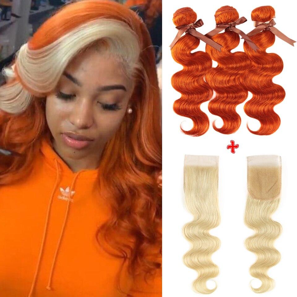 Remy forte loira onda do corpo pacotes com fecho laranja cabelo brasileiro tecer pacotes 3 pacotes de cabelo humano com fecho rápido eua