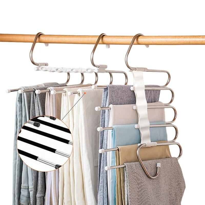 5 в 1 пара штанов, вешалка для одежды органайзер мультифункциональная Сумка Полки Шкаф для хранения нержавеющей стали Magic вешалка для брюк