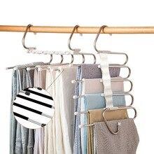 5 in 1 Pant Rack Hanger for Clothes Organizer Multifunction Shelves Closet Storage Organizer StainlessSteel Magic Trouser Hanger