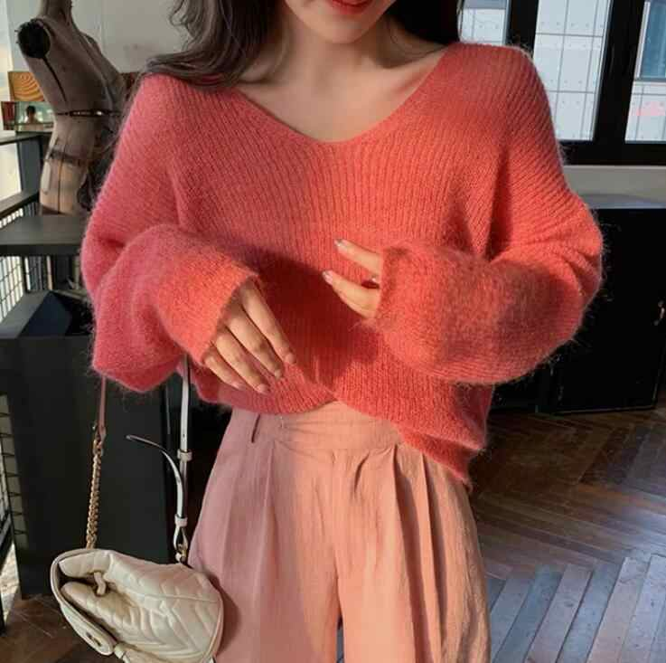 Women V neck Soft Mohair Pullover Sweater Lady Korean Style Solid Color Thin Pullovers Autumn Winter Sweaters Knit Tops Q9089