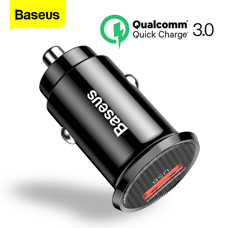 Baseus Mini USB Car Charger Quick Charge 3.0 Car Phone Charger For iPhone Samsung Xiaomi mi QC3.0 QC Fast Mobile Car Charging(China)