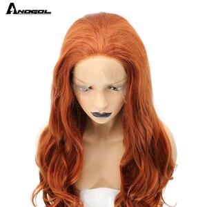 Image 4 - Anogol fibra de alta temperatura parte livre laranja natural longo corpo onda de cobre vermelho sintético peruca dianteira do laço para mulher branca