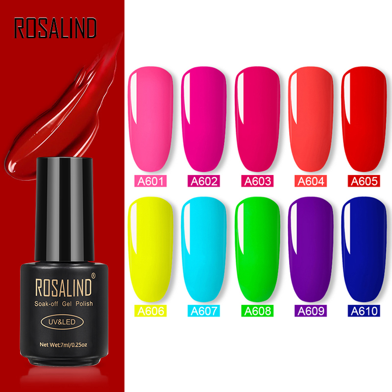 ROSALIND Neon Hybrid Varnish Nail Gel Polish UV Set For Manicure 7ML Nails Semi Permanent Gellak Soak Off Primer Base Top Coat