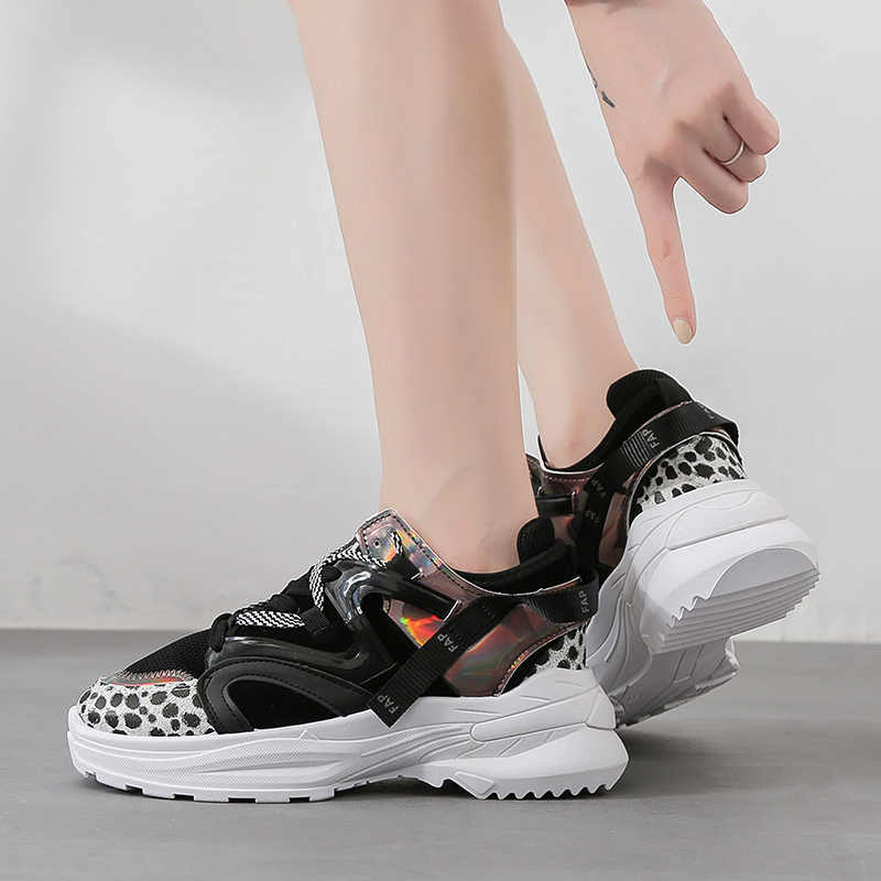 Weweya, zapatillas de tacón alto para mujer, calzado deportivo de leopardo de tendencia FAP, zapatos de mujer con plataforma para caminar, zapatos deportivos transpirables, talla 36-41