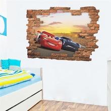 3d effect disney cars mcqueen broken wall stickers for kids rooms home decor cartoon decals pvc mural art diy posters