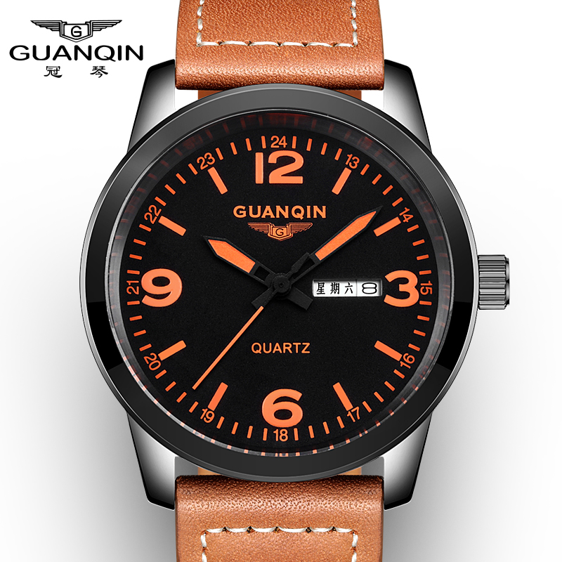 GUANQIN GS19036 New Arrival Male Watches Luxury Top Brand Men's Army Military Watch Luminous Leather Sport Quartz Wrist Watches - 2