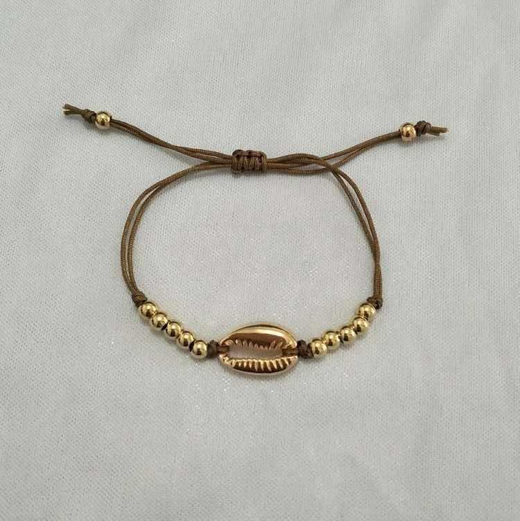 Złoty kolor srebrny Cowrie Shell Charm bransoletka dla kobiet koralik Strand bransoletka delikatne liny łańcuchowe bransoletki Bohemia biżuteria plażowa