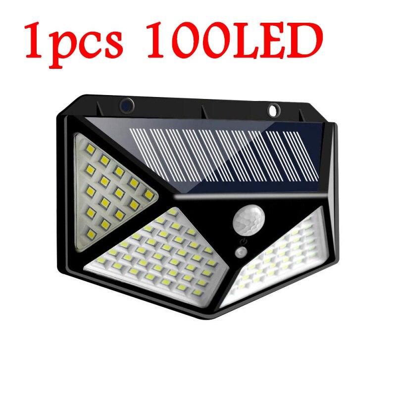 114/100 светодиодный солнечный светильник уличный светильник на солнечной энергии с движения PIR Сенсор настенный светильник Водонепроницаемый солнечный светильник питание садово-уличный светодиодный светильник - Испускаемый цвет: 1pcs 100LED