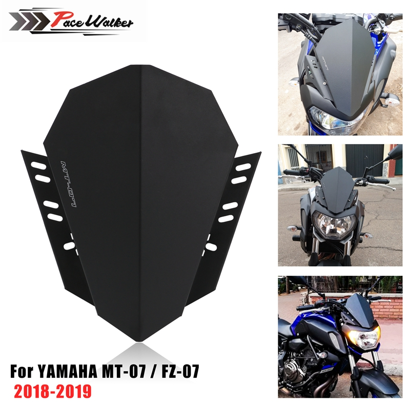 Free Shipping Motorcycle Windshield Windscreen Kit Deflector Fits For YAMAHA MT-07 MT 07 2018 2019 MT07 FZ07 FZ-07 FZ 07 2018-19