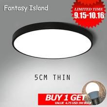 LED Ceiling Light Ultra-thin 5CM Mordern Simple Lamp Black White Round For Living Room Bedroom Foyer Dinning
