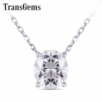 TransGems 14K 585 White Gold 2ct 7*8mm FG Color Oval Moissanite Pendant Necklace for Women Wedding Birthday Gifts Fine Jewelry - DISCOUNT ITEM  5% OFF All Category