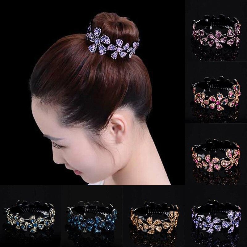 Hair Clip Comb Hairpin Women Claw Crystal Bun Holder Fashion Gift Ponytail