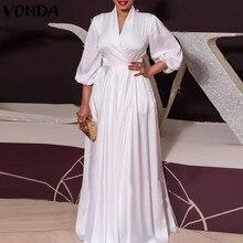 VONDA Été Longue Maxi Robe De Soirée 2021 VONDA Sexy Col en V Manche Longue Uni Robes De Grande Taille Bohème Robes Femme Robe D'été