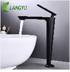 LANGYO Black Brass Shower Head 2-ways Digital Display Mixer Taps Bathroom Shower Faucet Matte black Digital Shower Faucets Set