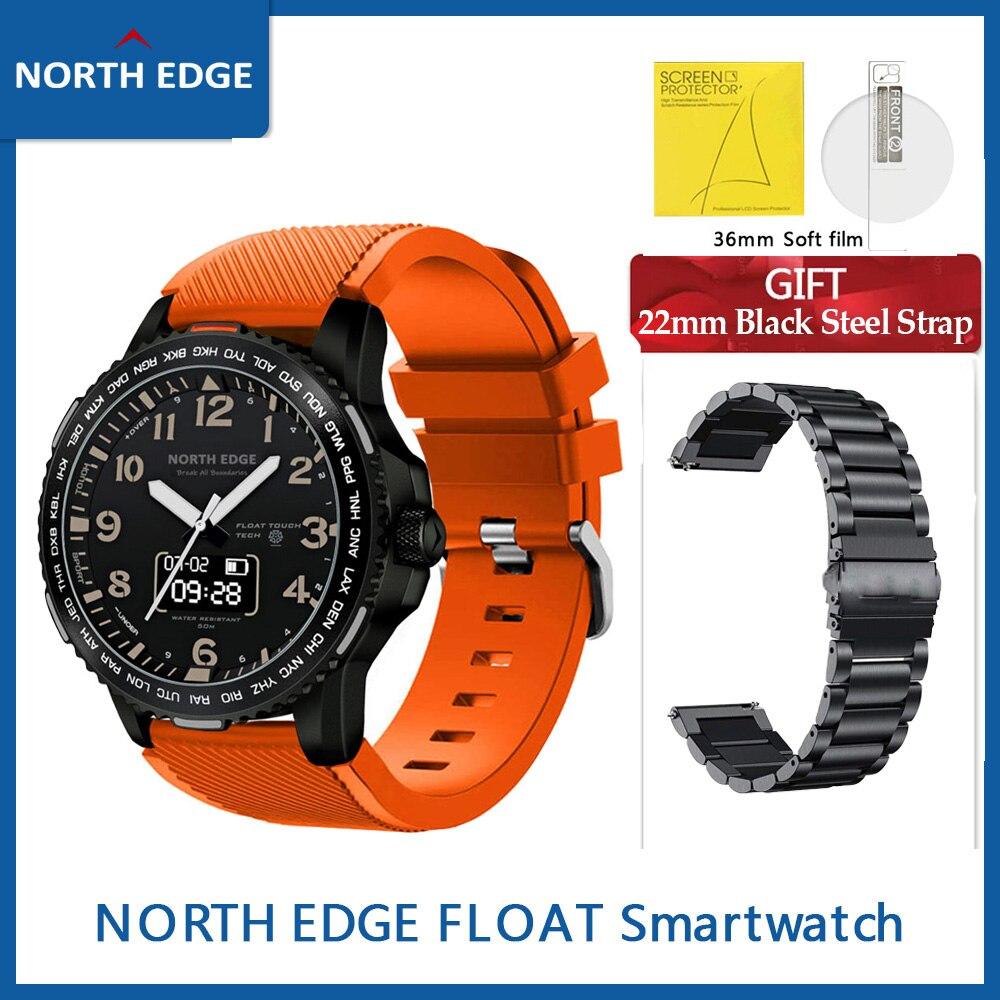 Gift Straps North EDGE Float Smart Watch Heart Rate Sleep Monitor G-sensor Quartz Didital watch Weather Forecast 22mm SmartWatch