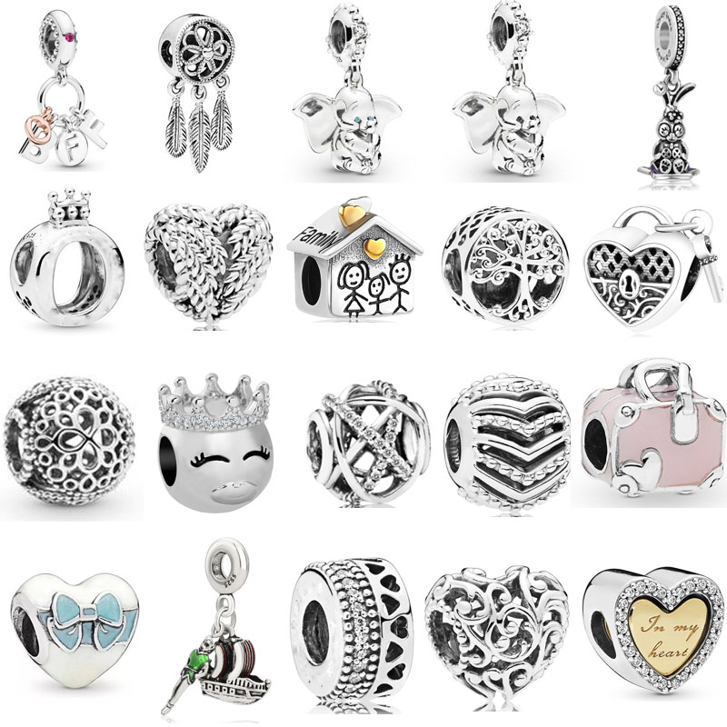 2019 new free shipping Best Friends Heart & Key family Dumbo Dangle bead fit Original Pandora charms silver 925 bracelet X016(China)