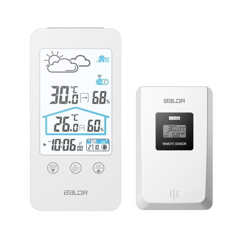 Беспроводная метеостанция, цифровой сенсорный термометр, гигрометр, ЖК дисплей, датчик температуры и влажности, фазы Луны, часы с подсветкой Приборы для измерения температуры      АлиЭкспресс
