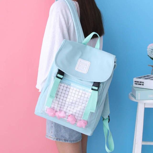 2020 Hotsale Square Schoolbag For Girls Boys College Sky Blue Bag Student Backpacks Unisex Female Waterproof Oxford School Bags