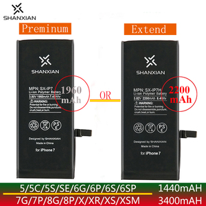 SHANXIAN Original Replacement Extend High Preminum battery for iPhone SE 5 X 6 6S 7 8 Plus Zero Cycle Free tools PSE CE UN38.3(China)