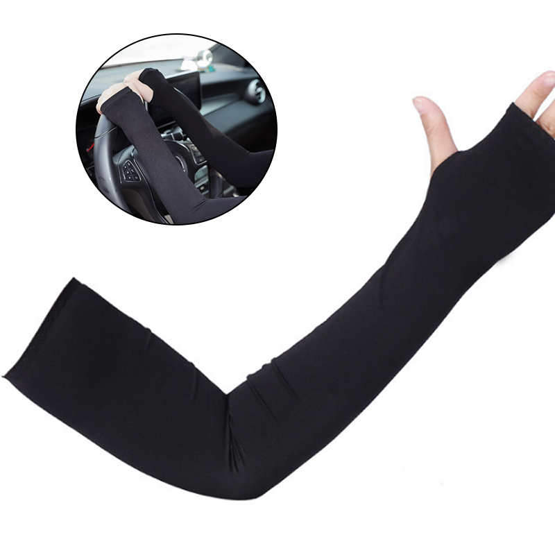 Arm Sun Sleeves Long Sunblock Ice Silk Cooler Sleeves Arm Cover With Thumb Hole For Outdoor Sports Running Arm Warmer Sleeves