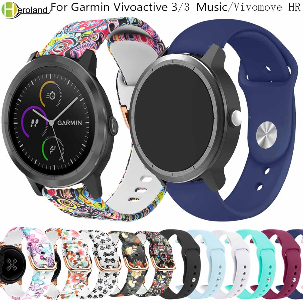 20mm Silicone SmartWatch Strap For Garmin Vivoactive 3 /3 Music /Vivomove HR /245/245M Wristband Bracelet For Amazfit GTR 42mm