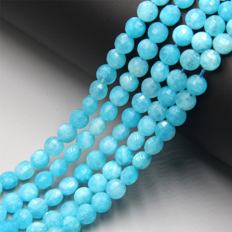 Amazonites Beads Faceted Strand Beads Natural Amazonit Stone Round Loose Spacer Beads For DIY Jewelry Making Bracelet 15''