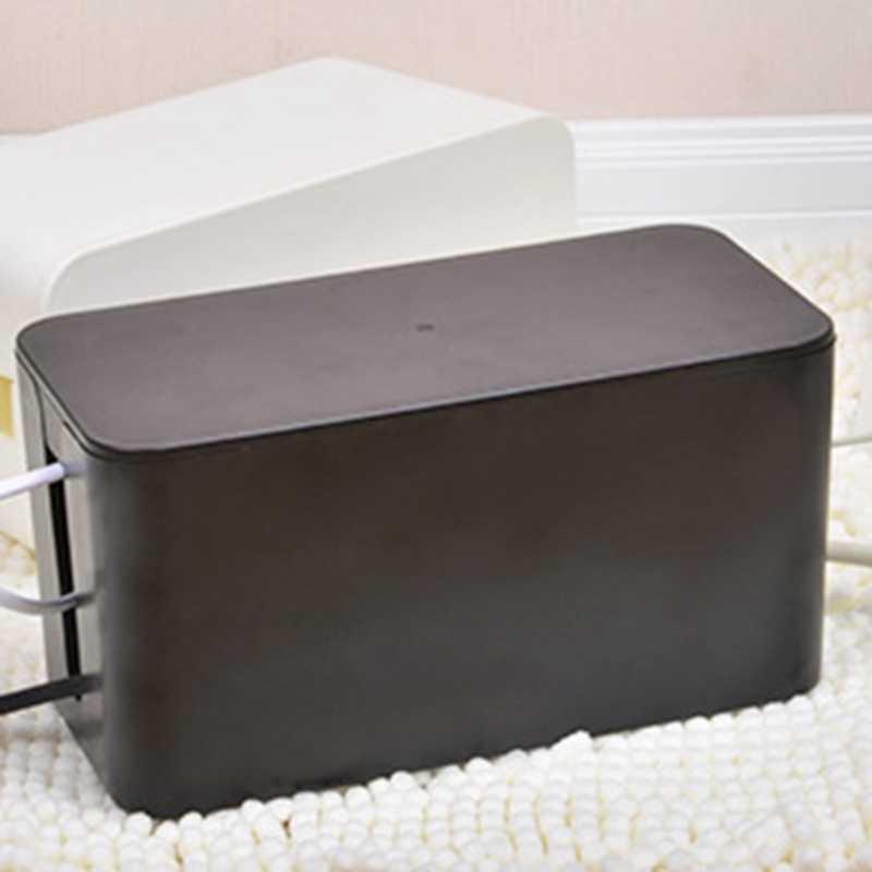 Di plastica Scatola di Immagazzinaggio del Cavo di Alimentazione Filo di Gestione dei Cavi Organizer Box Custodie Scatola di Giunzione di Stoccaggio Linea di Alimentazione Plug-In Router stoccaggio Bo
