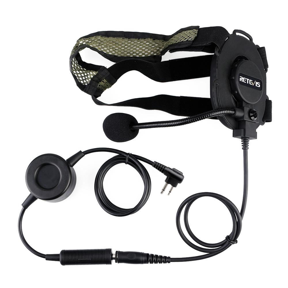2-4 Retevis EH060K High Quality Tactical Headset Military Headset With PTT Headphone For Walkie Talkie Airsofe Game Earphone