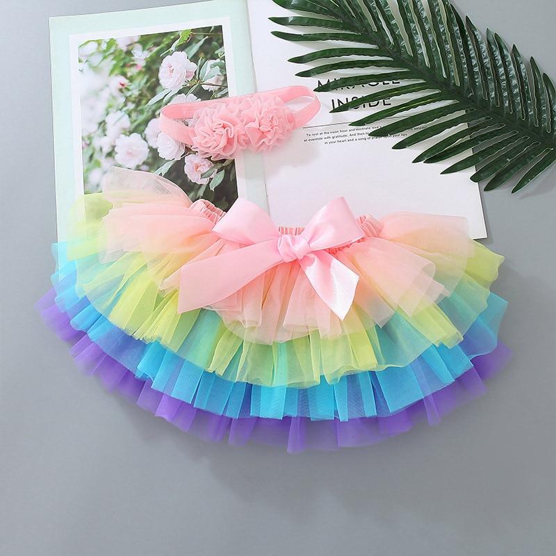 Baby Girls Tulle Tutu Bloomers Infant Newborn Rainbow Skirt Diapers Cover 2pcs Short Skirts+Headband Set Tutu Skirt Girls Skirts