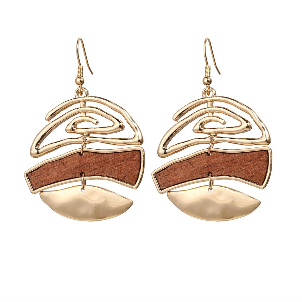 17KM Vintage Elegant Natural Wood Dangel Earrings For Women Fashion Bohemian Gold Geometric Splicing Hollow Drop Earring Jewelry