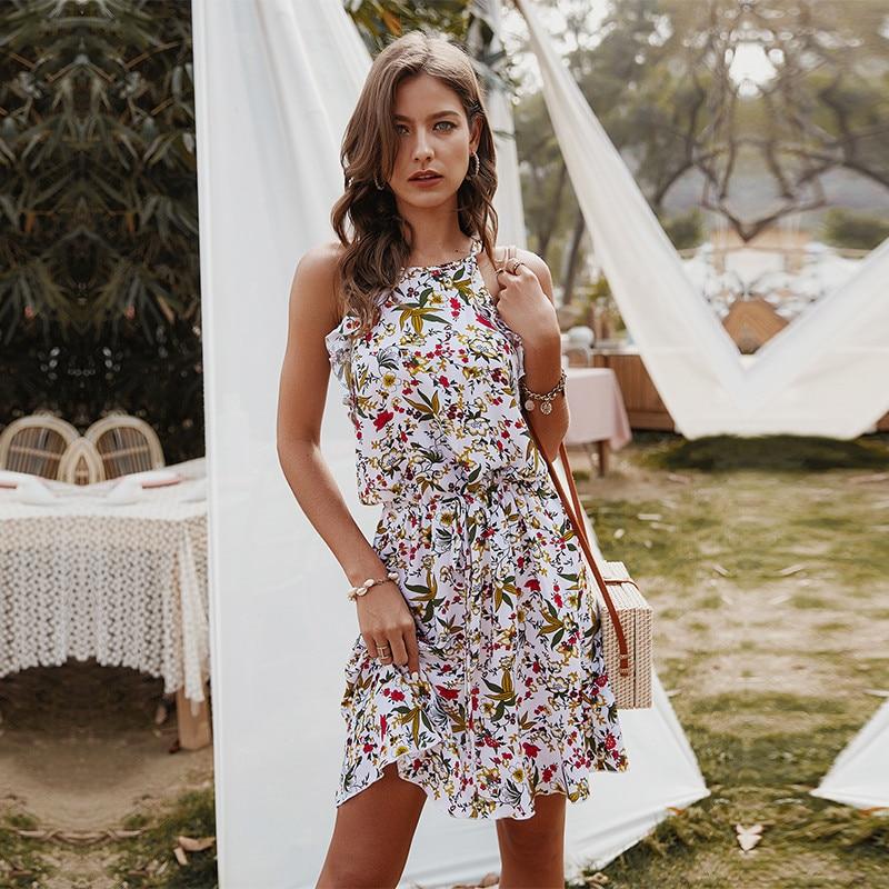 Summer Slim Halter Print Dress Women Casual  Sleeveless Ruffles Above Knee Mini Floral Dress 2020 New