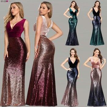 Robe De Soiree Ever Pretty EZ07767 New Sexy V-neck Sleeveless Mermaid Burgundy Long Evening Dresses Elegant Abendkleider 2020