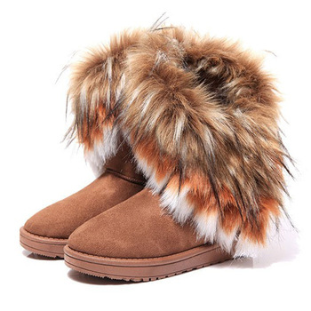 Women Fur Boots Ladies Winter Warm Ankle Boots For Women Snow Shoes Style Round-toe Slip On Female Flock Snow Boot Ladies Shoes e toy word winter women snow boots warm antieskid mid calf boots square heel slip on casual women flock rabbit hair shoes