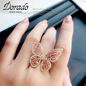 Luxury Butterfly Rings For Women Retro New Alloy Engagement Wedding Party Female Finger Ring Fashion Jewelry anillos(China)