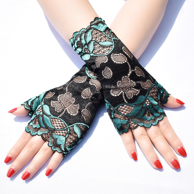 Short summer thin section two-color lace sun protection half-finger gloves female riding UV protection dance performance gloves 3